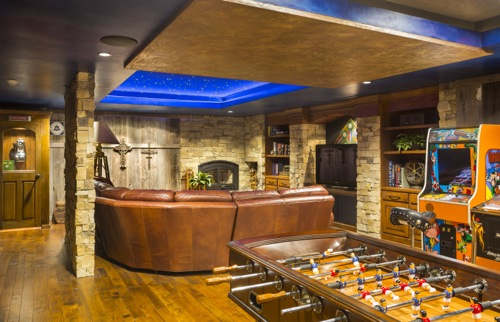 Man Cave With Arcade And Bar